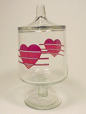 Valentine Red Heart Covered Candy Jar