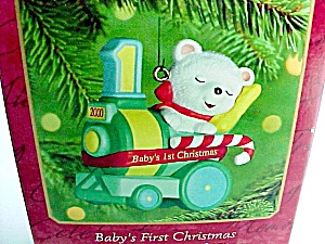 2000 Hallmark Christmas Tree Ornament Babys First 1st Bear On Train
