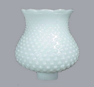 Hobnail Opaque Milk Glass Light Shade 1 5/8 In As Is Danish Modern