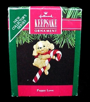 1991 Hallmark Christmas Tree Ornament Puppy Love #1 Keepsake Qx537-9