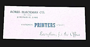 Burlington Iowa Advertising Acres-blackmar Ink Blotter