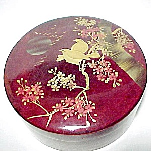Love Birds Oriental Round Marroon Lacquered Box Vintage