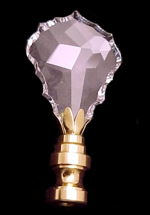 Crystal & Brass Lamp Finial 2 7/8in Faceted & Beveled