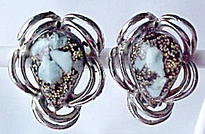 Black Aqua Jelly Belly Lucite Tear Drop Earrings Clip-on Goldtone