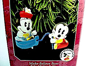 1998 Hallmark Christmas Tree Ornament Make Believe Boat Baby Mickey