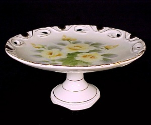 Vintage Yellow Rose China Pedastal Plate Compote Server