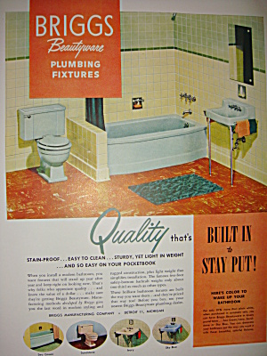Briggs Bathroom Fixtures And Lucky Strike Ad 1951