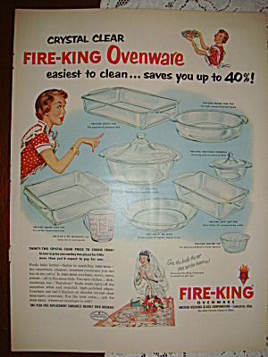 Fire-king Fire King Fireking Ovenware Crystal Clear Ad