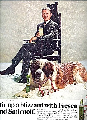Johnny Carson With St. Bernard Fresca Smirnoff Ad 1969