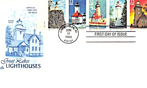 First Day Cover Fdc Great Lakes Lighthouses 1995
