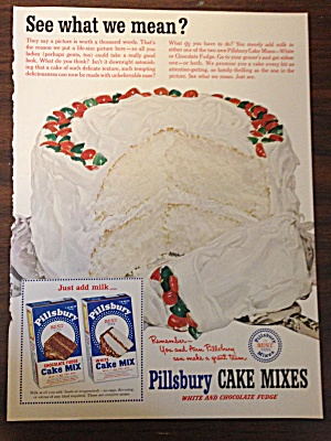 Pillsbury Cake Mixes Ad For White And Chocolate Fudge