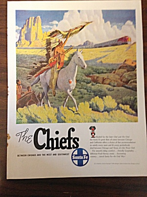Vintage Ad For Santa Fe Railroad American Indian Chief