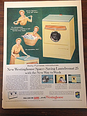 1955 Ad For Westinghouse Laundromat 25 W/ Betty Furness