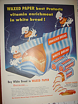 Vintage Bread And Waxed Paper Ad 1955