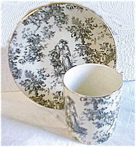 Toile Black And White Demi Cup And Saucer