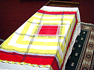 Red, Yellow, White Checked Tablecloth