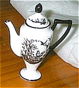 Toile Black And White Rooster Teapot