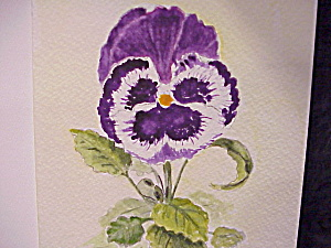 Hand Painted Watercolor Blank Greeting Or Note Card