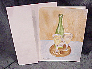 Handpainted Watercolor Greeting Or Note Card