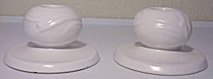 Roseville Pottery Ivory 2nd Line Pr Candlesticks