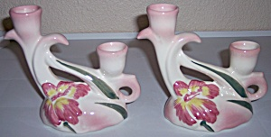 Camark Pottery Pair Iris Decorated Candlestick Holders