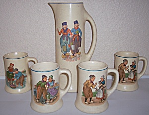 Roseville Pottery Early Dutch 5-pc Tankard/mug Set