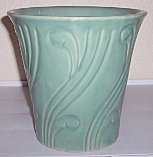 "Pacific Pottery Art Deco 7.5"" Green Flower Pot"