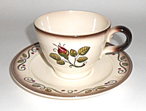 Metlox Pottery Poppy Trail Provincial Rose Cup/saucer