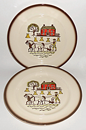 Metlox Pottery Pair Colonial Heritage Dinner Plates