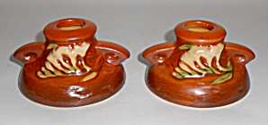 Roseville Pottery Freesia #1160-2 Pair Candle Holders