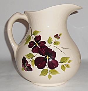 Vee Jackson Pottery Large Violet Decorated Pitcher