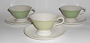 Flintridge China Bon-lite 3 Cups/saucers Mint
