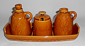 Franciscan Pottery Harvest Brown Wheat 4 Pc Condiment