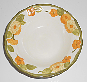 Metlox Pottery Poppy Trail Sculptured Zinnia Fruit Bowl