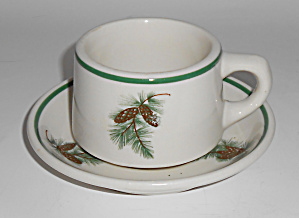 Wallace China Restaurant Ware Pine Cone Cup/saucer Set