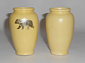 Tudor Potteries Pair Yellow Cabinet Vases W/sticker