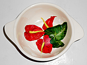 Santa Anita Ware Pottery Red Anthurium Tab Cereal Bowl