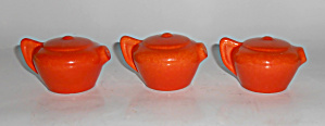 Franciscan Pottery Sperry Orange Teapot Set/3 Shakers