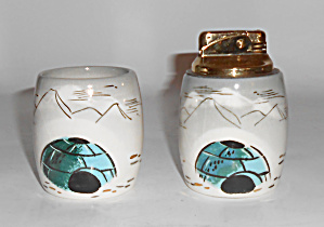 Sascha Brastoff Pottery Alaska Series Cigarette/lighter