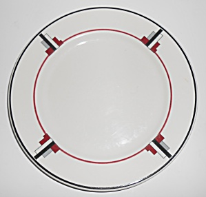 Syracuse China Art Deco Red/black/grey Restaurant Plate