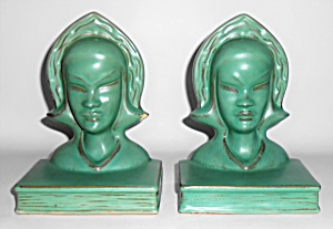Roseville Pottery Pair Burmese Matte Green Bookends