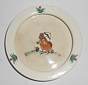 Weller Art Pottery Early Chicken W/umbrella Baby Dish