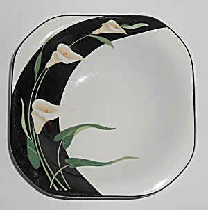Sango Japan China Porcelain Black Lilies Soup/cereal