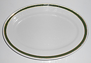 Jackson China Restaurant Ware Green Gold Bands Platter