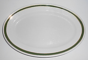 Jackson China Restaurant Ware Green W/gold Bands Large