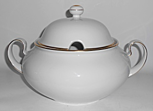 Kuba China Porzellan White W/gold Soup Tureen