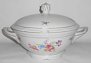 Zeh Scherzer China Porcelain Floral W/gold Soup Tureen