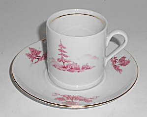 Germany Porcelain China Red/pink Countryside W/ Gold Tr