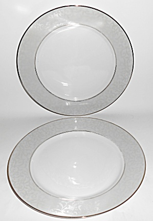 Mikasa Fine China Pair Platinum Parchment Dinner Plates