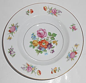 Noritake Porcelain China Dresala Floral Gold Soup Bowl